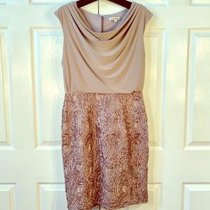 EXQUISITE TAUPE SLEEVELESS LINED SIZE 8 DRESS